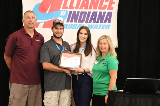 Christopher Gagnon received a $3,000 ServLine by HomeServe Apprentice Scholarship at the Indiana Alliance for Rural Water Leadership Summit.